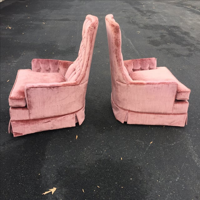 Vintage Mauve Velvet Hollywood Tufted Club Chairs - Pair - Image 3 of 11