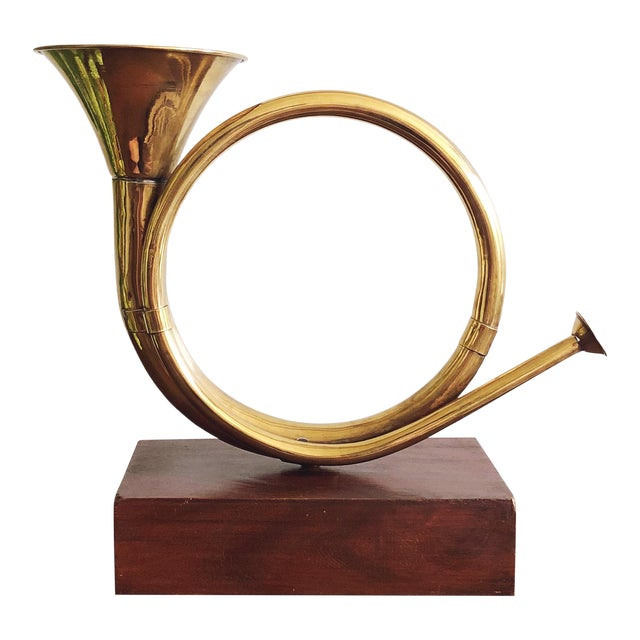 Vintage Brass Horn With Wood Base For Sale