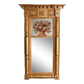 Antique American Empire Eglomise Gold Gilt Panier de Fleurs Trumeau Mirror For Sale