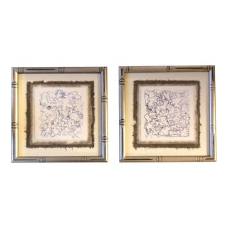 Gallery Wall Collection-2 Original Contemporary Wayne Cunningham Ink Drawings Faux Bamboo Frames-set of 2 For Sale