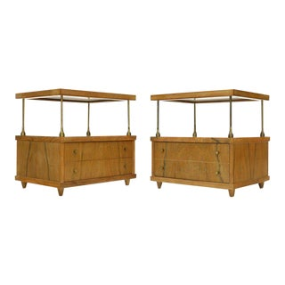 Pair of Flip Floating Top One Drawer End Tables Stands For Sale