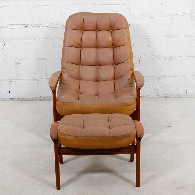 Leather Mid-Century Modern Lounge Chair & Ottoman - Image 4 of 9