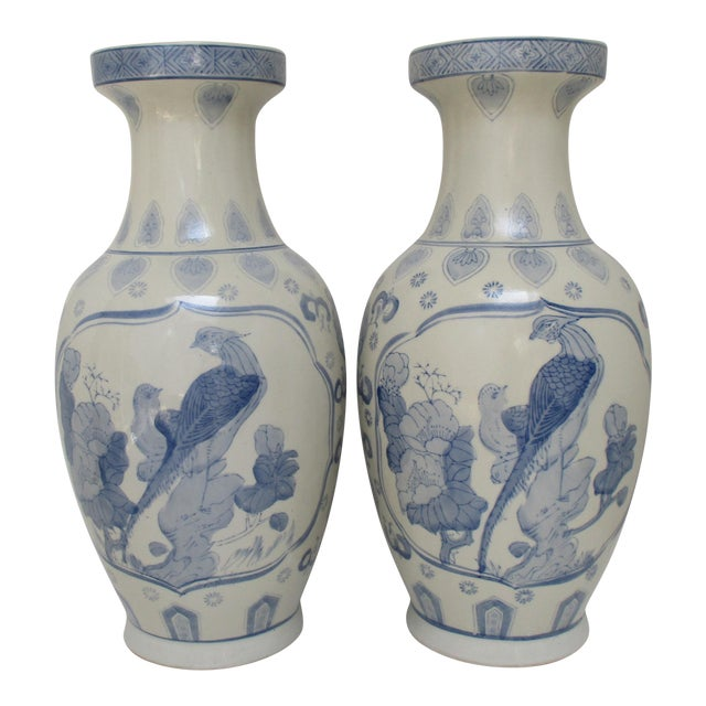 Large Chinese Ceramic Vases A Pair Chairish