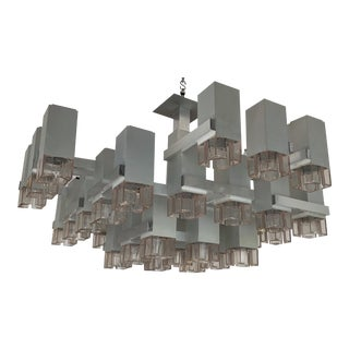 Large 1970s Cubic M131 Chandelier by Sciolari, Italy For Sale