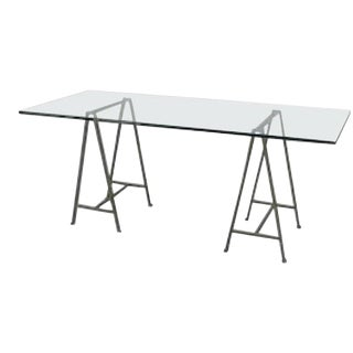 Post-War Design Glass Table Desk For Sale