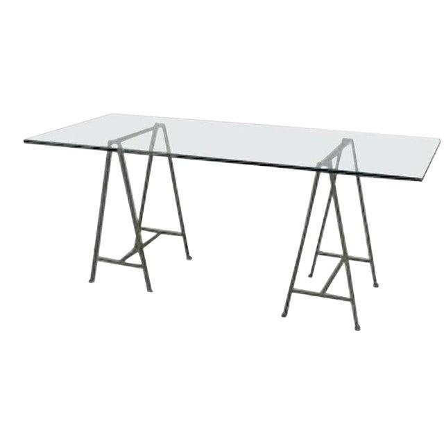 Post-War Design Glass Table Desk For Sale