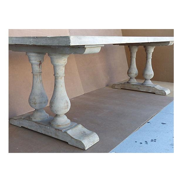 Neoclassical Library Table with Whitewash Finish - Image 5 of 10