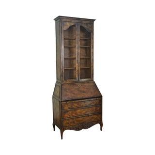 French Louis XV Style Vintage Walnut Bookcase Top Secretary Desk