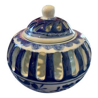 Vintage Blue and White Porcelain Oriental Box For Sale