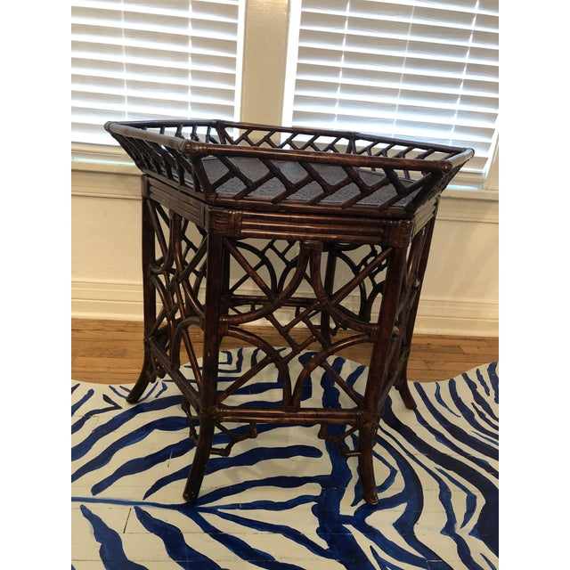 1960s Burnt Bamboo Rattan Tray Table For Sale - Image 9 of 9