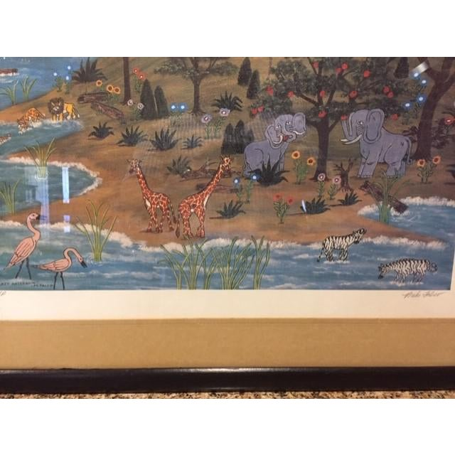 """1960s Vintage Mike Falco """"Lazy Afternoon"""" Folk Art Signed Artist Proof Serigraph on Canvas For Sale In Phoenix - Image 6 of 12"""