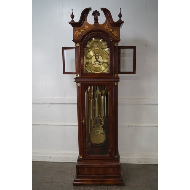Store Item #: 14915-fwmr Charles Sligh Mahogany Inlaid 9 Tube Grandfather Clock AGE/COUNTRY OF ORIGIN: Approx 25 years,...