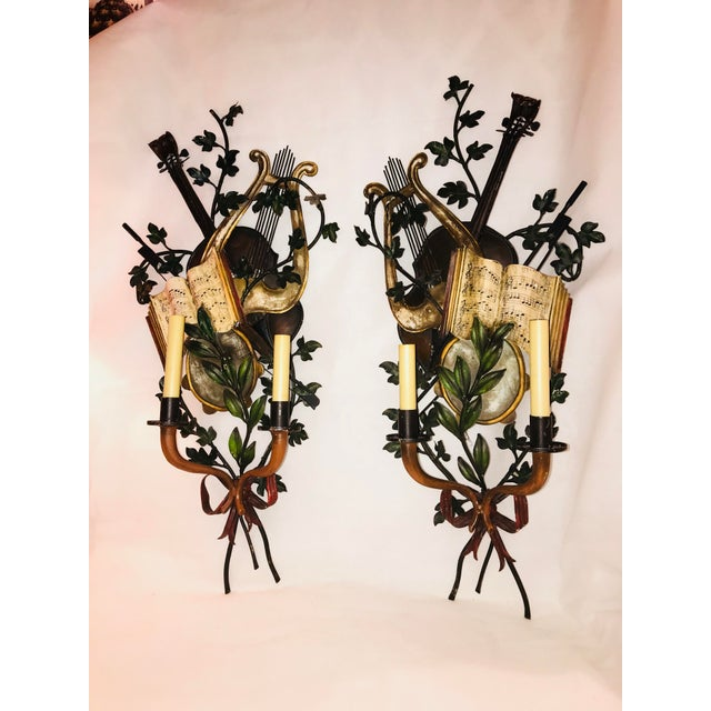1950s Baroque Italian Tole Musical Sconces - a Pair For Sale - Image 11 of 11