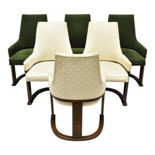 Set of 6 Vintage Mid Century Modern Brutalist Dining Chairs by United Furniture For Sale