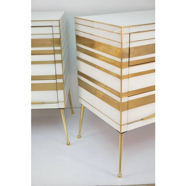 Early 21st Century Contemporary Italian Gold Brass and White Cream Glass Chests Side Tables - a Pair For Sale - Image 5 of 9