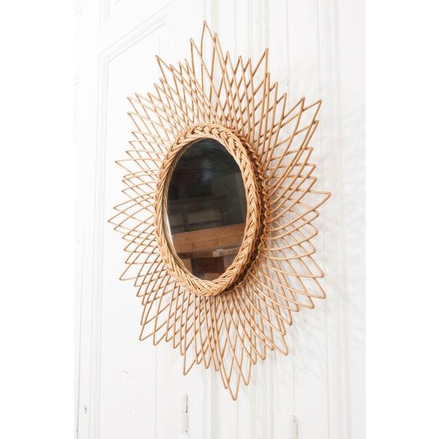 English Vintage Rattan Sunburst Mirror For Sale - Image 4 of 11