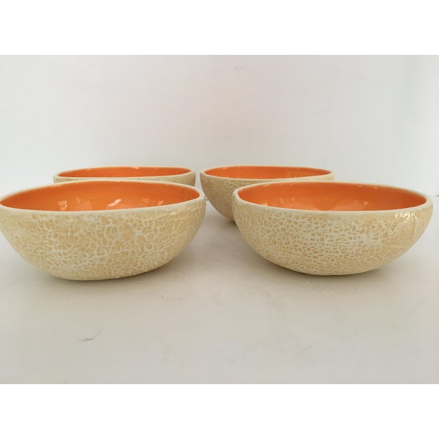 Hand Painted Majolica Cantaloupe Pottery Bowls - Set of 4 For Sale - Image 4 of 11