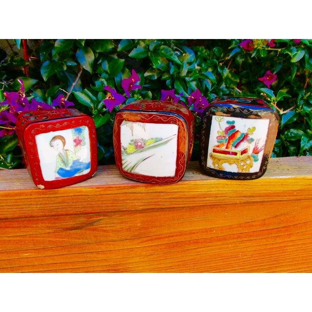 Porcelain Lacquer Glam Trinket Boxes - Set of 3 - Image 5 of 11