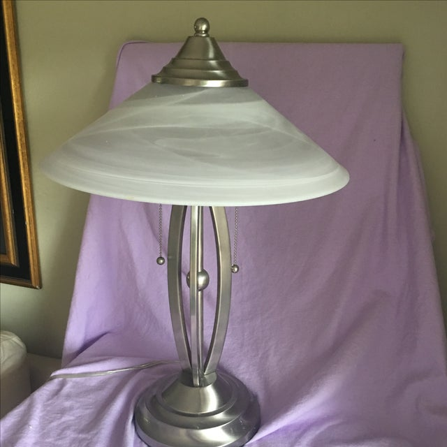 Contemporary Stainless Lamp & White Glass Shade - Image 4 of 5