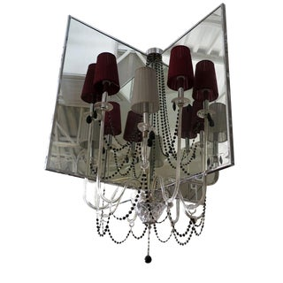 Italamp T400 Quadrimensione Chandelier With Red Shades For Sale