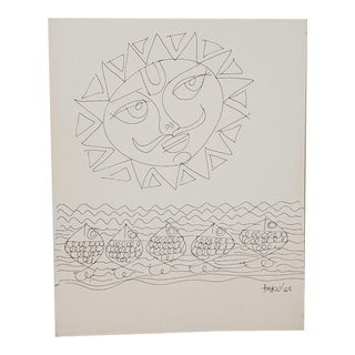 Haku Shah (India, 1934-2019) Original Pen & Ink Drawing C.1968 For Sale