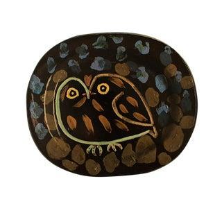 1955 Pablo Picasso Owl Ceramic Plate, Original Period Swiss Lithograph For Sale