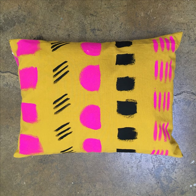 Hand-Painted Organic Cotton Pillow - Image 2 of 2