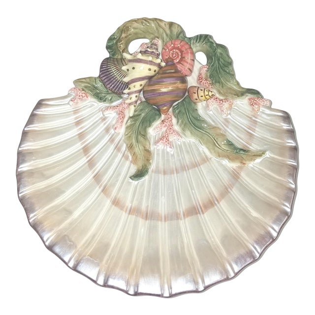 Vintage Fitz and Floyd Oceana Scallop Shell Trinket Dish For Sale