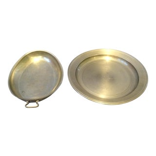 Pair of Pewter Small Plate and Serving Dish