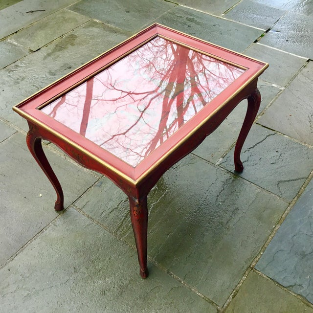 1950s 1950s Chinoiserie Red Hand Painted Coffee Table For Sale - Image 5 of 13