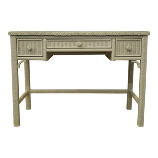 Lexington / Henry Link White Wicker Vanity / Student Writing Desk W. Glass Top 477-528 For Sale