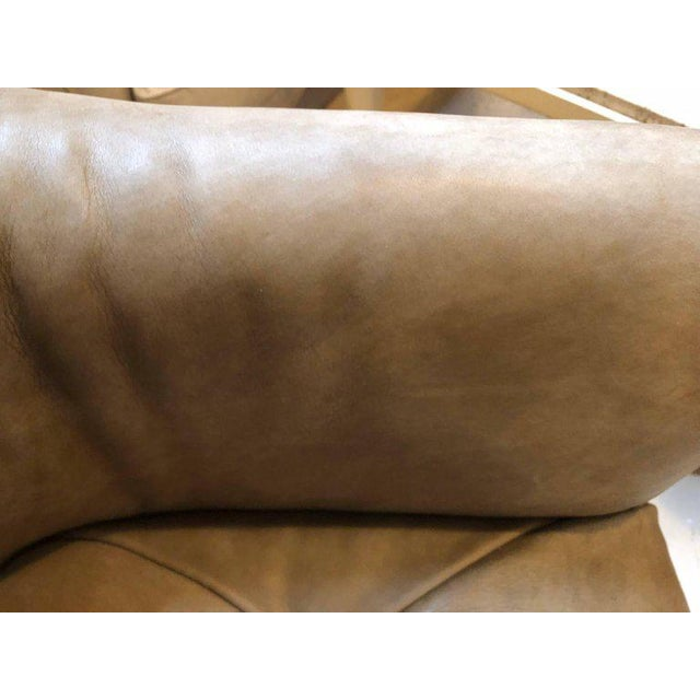 Animal Skin Pair of Hollywood Regency Style Leather Tufted Arm / Club Chairs in Putty Color For Sale - Image 7 of 10