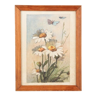 French Watercolor of Daisies by R.Exbrayat, 20th Century For Sale