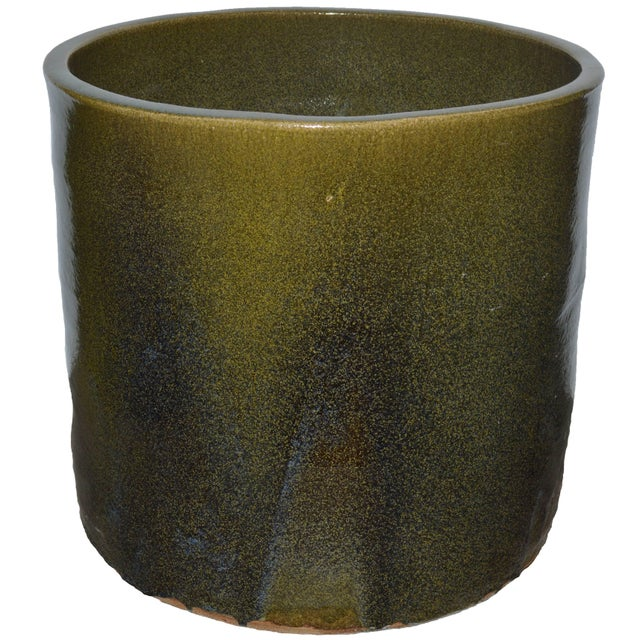 "Not Yet Made - Made To Order Artisan Series Glazed Terracotta Planter ""Verde"" For Sale - Image 5 of 5"