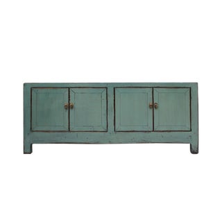 Chinese Distressed Teal Gray Low Tv Console Table Cabinet For Sale