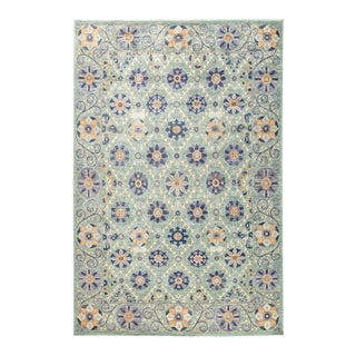 "Modern Suzani Style Blue & Purple Hand-Knotted Wool Rug- 6' 2"" X 9' 3"" For Sale"
