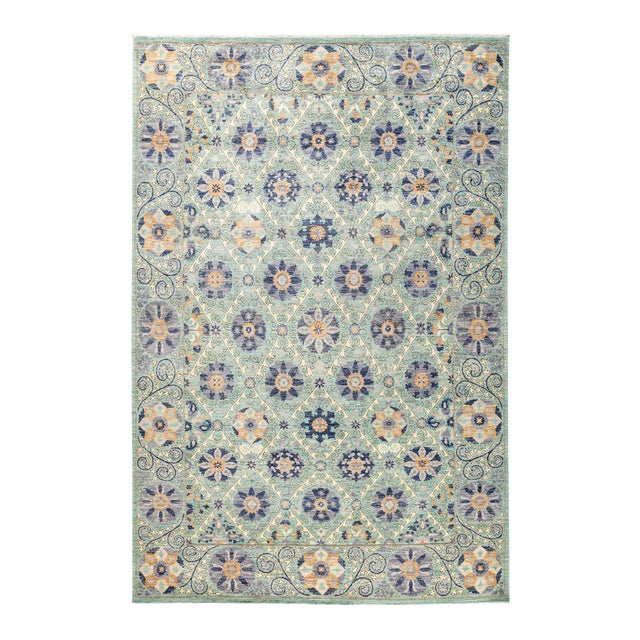 """Modern Suzani Style Blue & Purple Hand-Knotted Wool Rug- 6' 2"""" X 9' 3"""" For Sale"""
