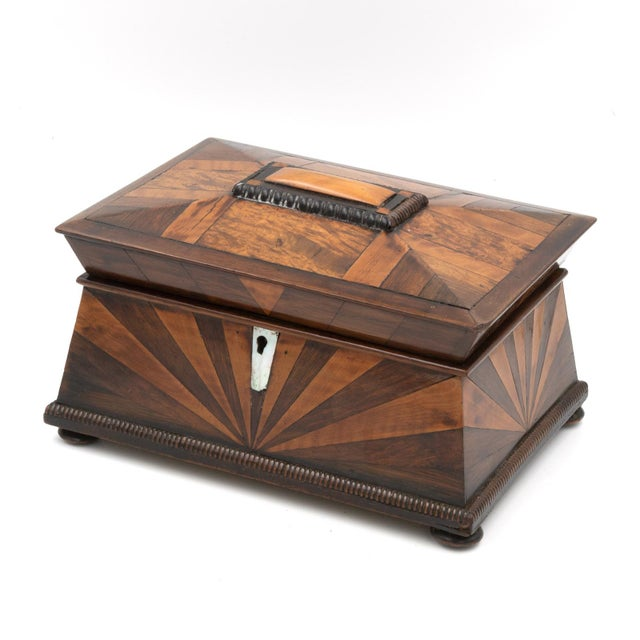Lovely Pagoda Shape Box With Sunburst Marquetry, English, Circa 1850. For Sale - Image 10 of 11