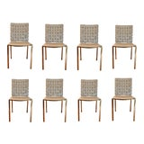 Image of Modern Woven Gray Leather and Brass Dining Chairs Set of Eight For Sale