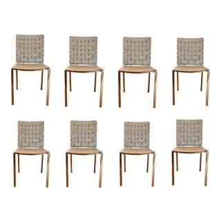 Modern Woven Gray Leather and Brass Dining Chairs Set of Eight For Sale