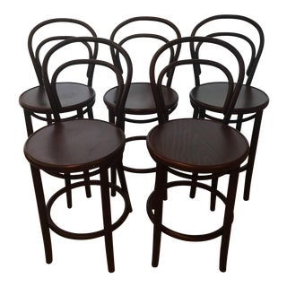 Mid-Century Modern Era Thonet Counter Height Barstools - Set of 5 For Sale