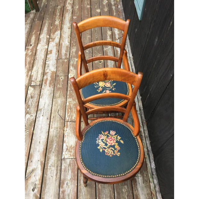 Textile Needlepoint Seat Wooden Chairs - Set of 2 For Sale - Image 7 of 11