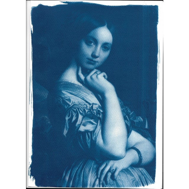 Paint Ingres, Portrait of a Young Girl, Handmade Cyanotype on Watercolor Paper, Limited Serie, A4 For Sale - Image 7 of 7