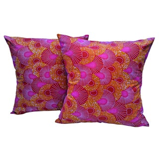 Mauve Purple African Wax Print Pillow Covers - a Pair For Sale