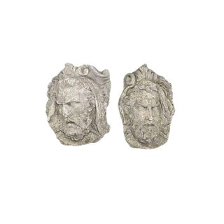 Pair of Italian Cast Stone Wall Face Mask Sculptures, 19th Century For Sale