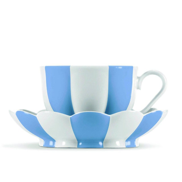 "New, original 1929 design Blue mocha (espresso) cup with saucer, part of the ""Melon"" collection designed for the Wiener..."