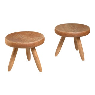 Charlotte Perriand pair of low ash stools, France, 1950s For Sale