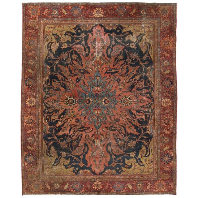 Blue Antique Farahan Rug with Modern Industrial Style, Persian Area Rug For Sale - Image 8 of 8