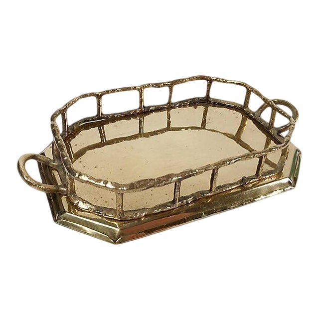 Octagonal Brass Tray with Bamboo Rail For Sale