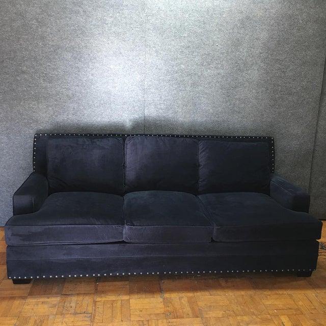 Living Spaces Blue Faux Velvet Oversized Isabelle Sofa - Image 2 of 10